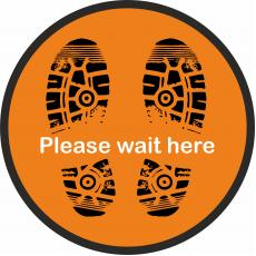 Floor Stickers for Social Distancing - Please Wait Here