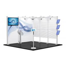 3m x 3m Centro Modular Exhibition Stand with AV and Slat Wall