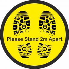 Floor Stickers for Social Distancing - Please Stand 2m Apart