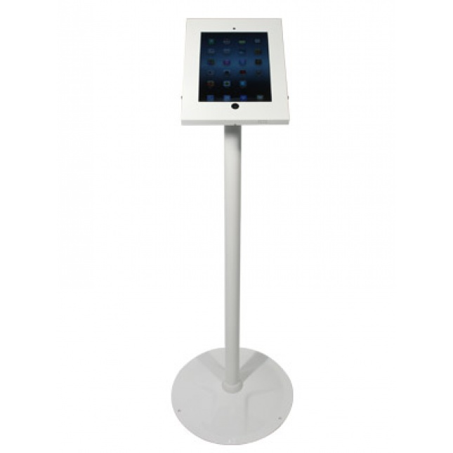 White Floor Standing iPad Holder