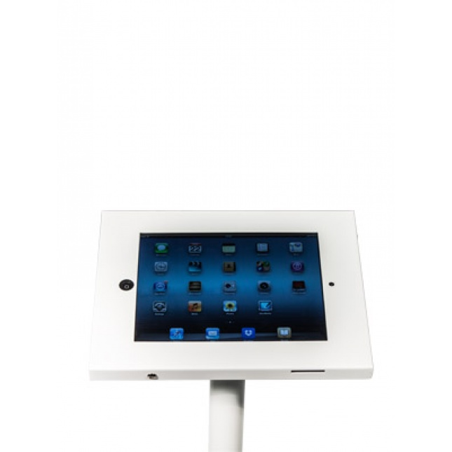 Close up White Floor Standing iPad Holder
