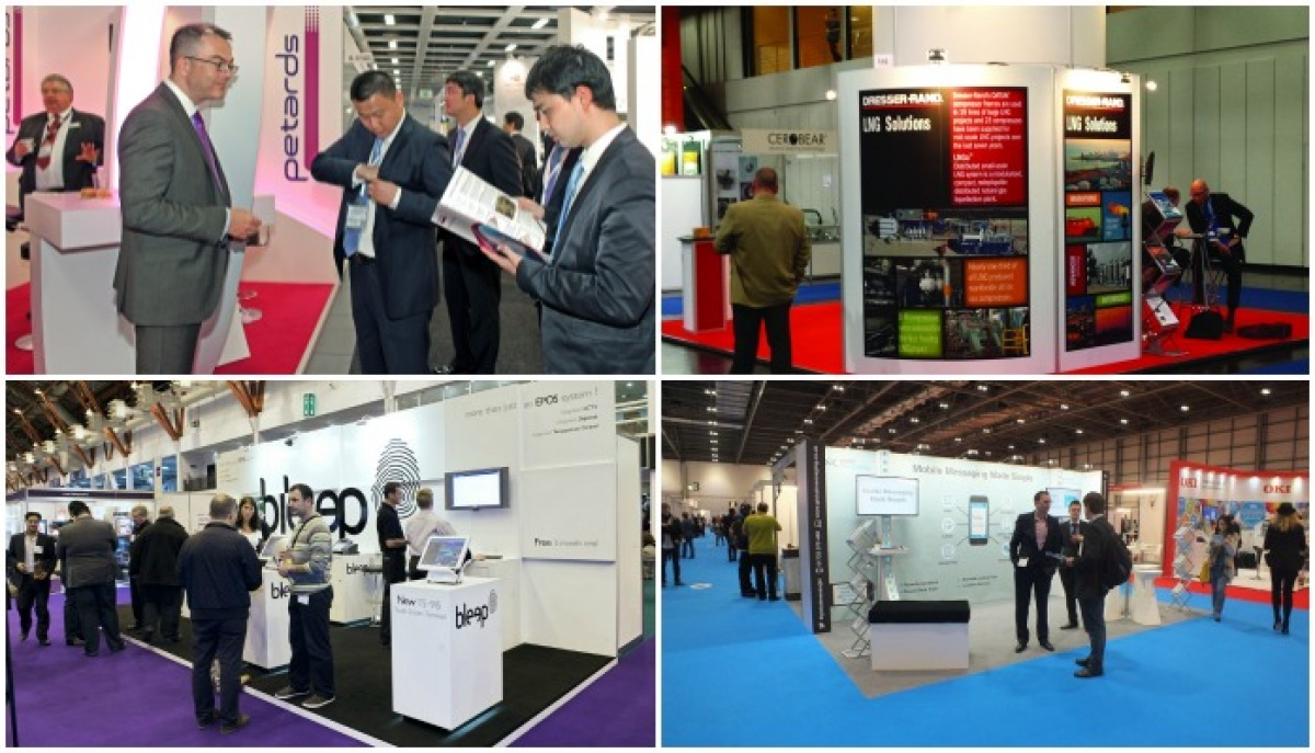Visitors at exhibition stands