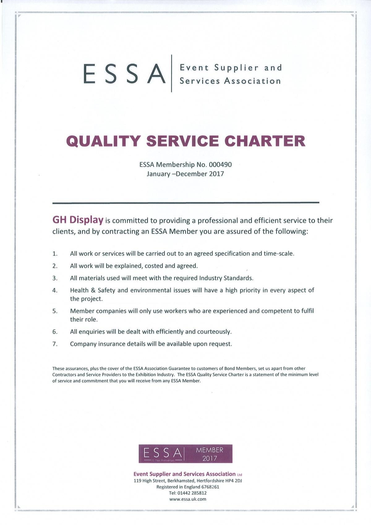 ESSA quality service charter