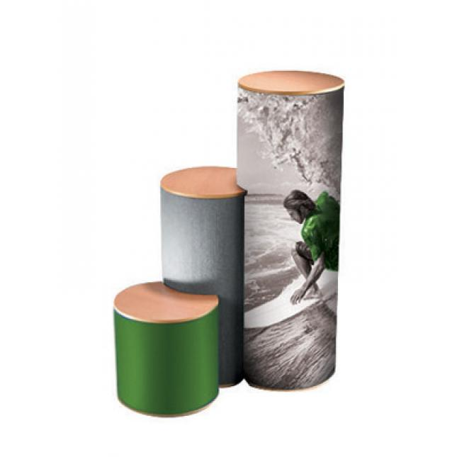 Multi height nest plinths with graphic wrap