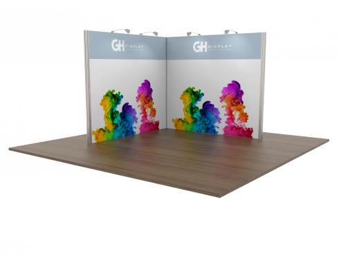 Modular exhibition stand tension fabric