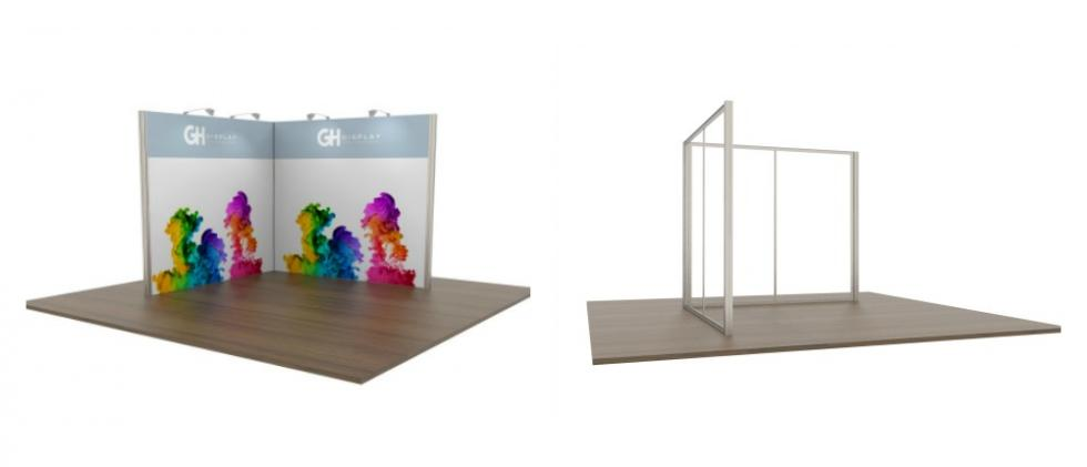 3x3 Modular Exhibition Stand two open sides