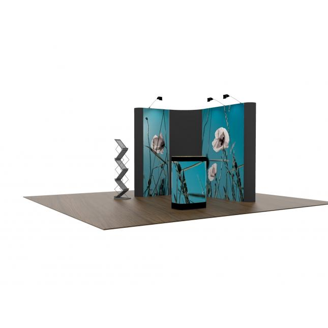 L shaped linked pop up display 1m x 2m