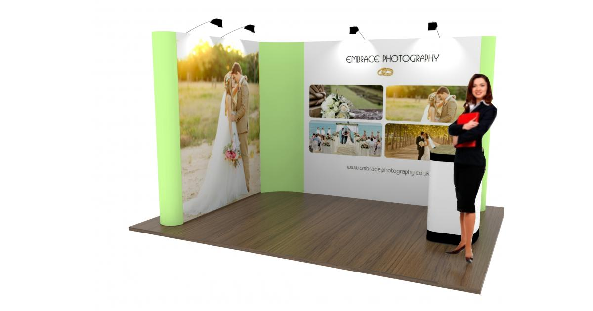Fabric Exhibition Stand Goals : 3 x 2 linked pop up stand l shaped pop up exhibition stand