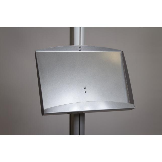 Steel brochure shelf attachments