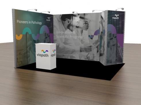 Viapath Exhibition as a 3m x 4m configuration with store
