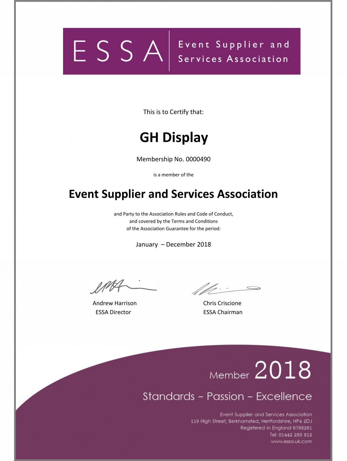 ESSA Certificate 2018
