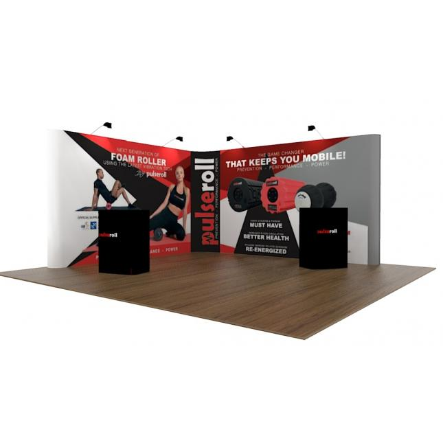 4m x 4m L shaped pop up exhibition stands