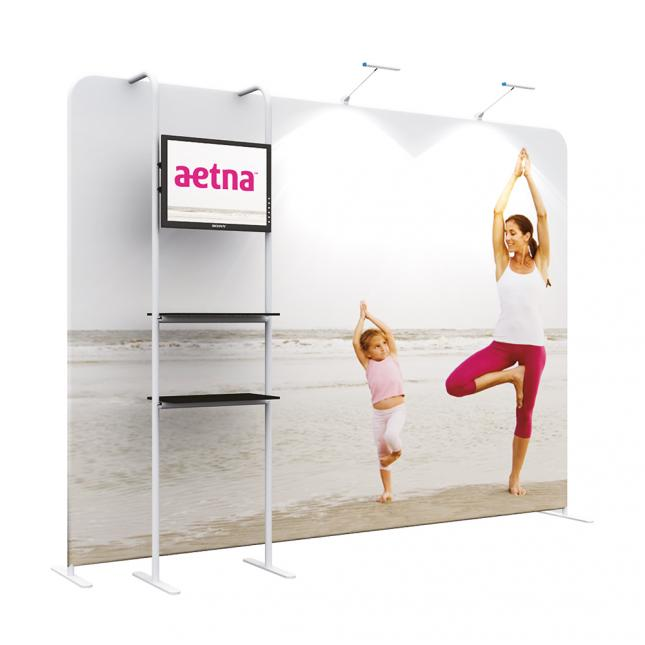 3m Straight Fabric Stand with Shelving C