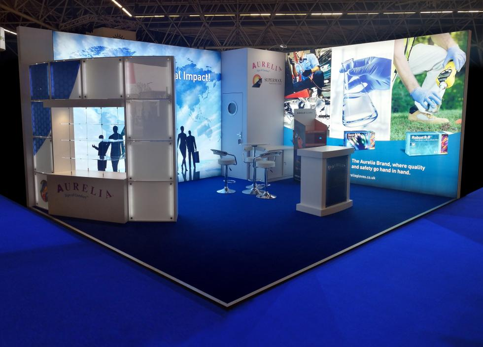 Aurelia Gloves Custom Lightboxes and Exhibition Stand