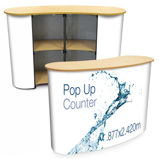 Curved Pop Up Counter with wood top
