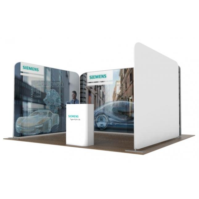 3m x 4m fabric stand one open side view 2