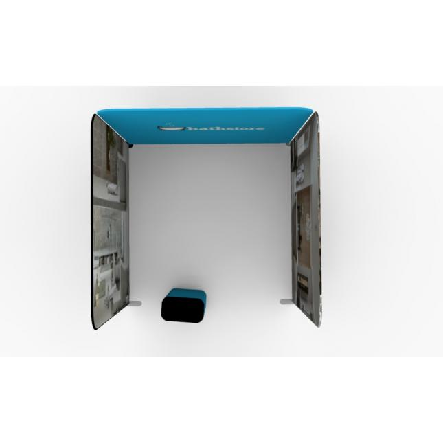 3m x 3m One open side fabric stand with case counter plan view
