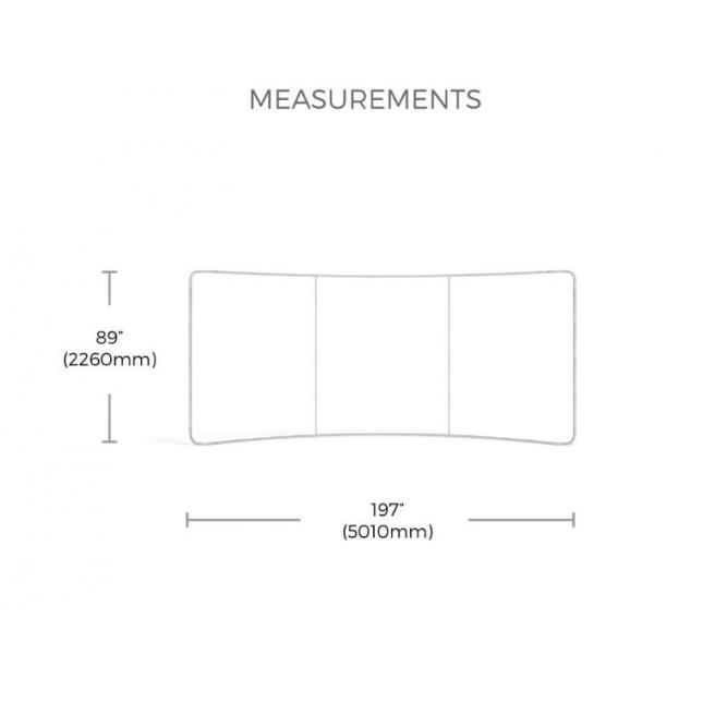 Dimensions for 6m curve plus fabric display