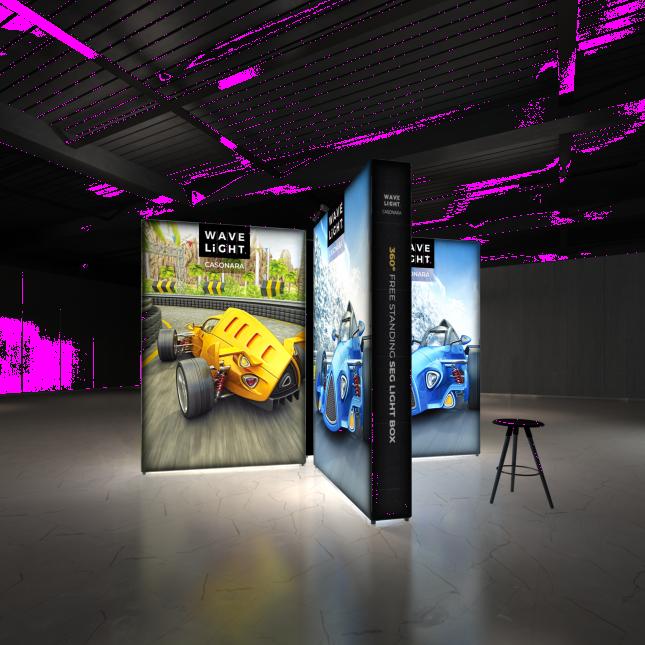 Various Wavelight Casonara Lightbox wall displays together