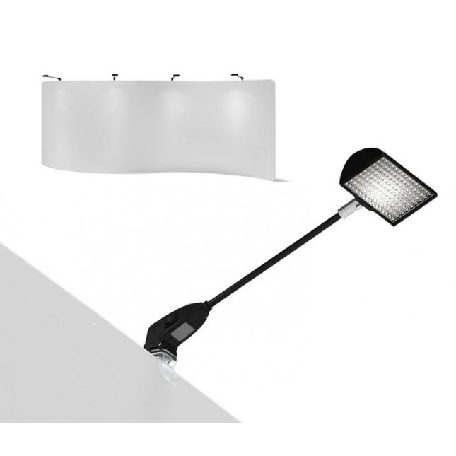LED lights on S shape fabric display stand