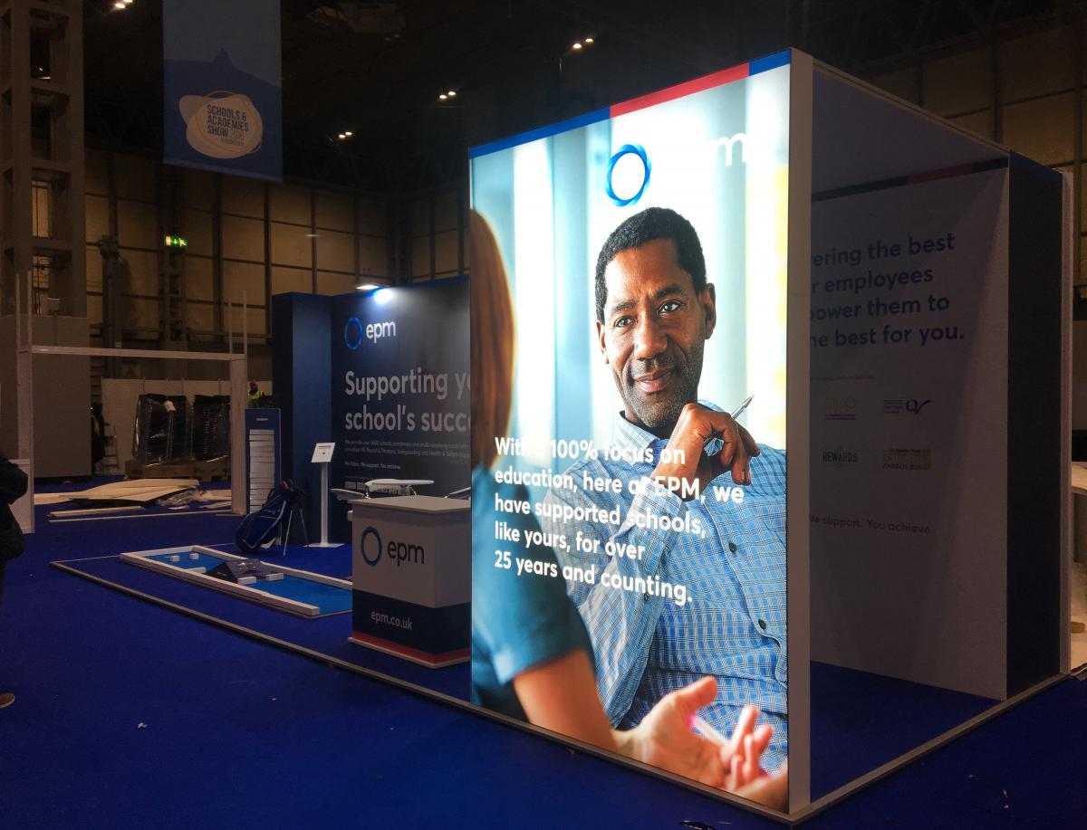 Exhibition stand with lightbox display