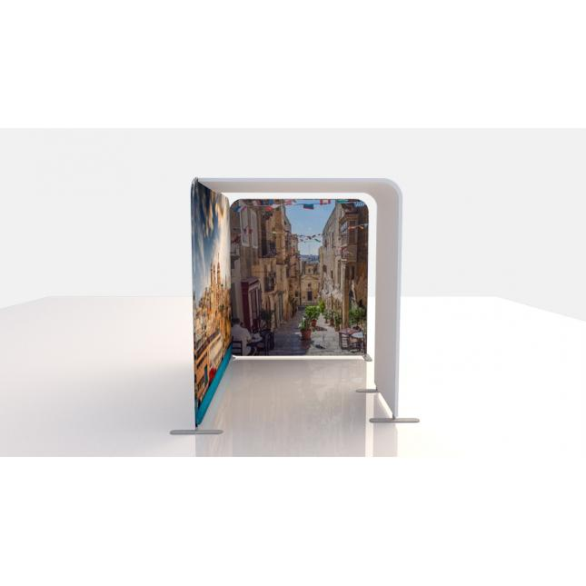 3m x 2m fabric exhibition stand with arch side view