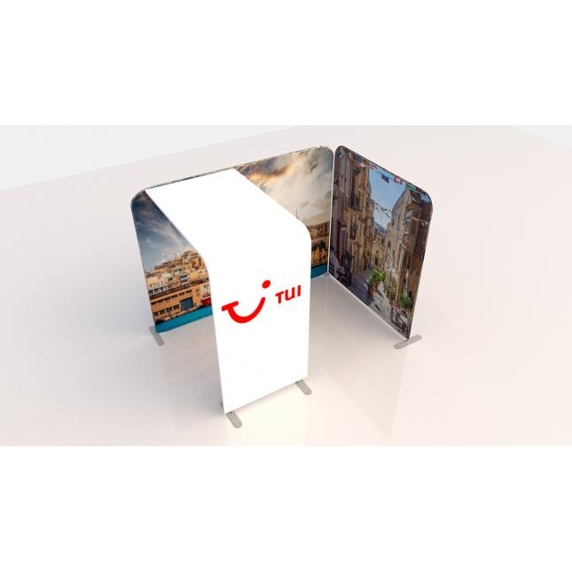 3m x 2m fabric exhibition stand with arch top down