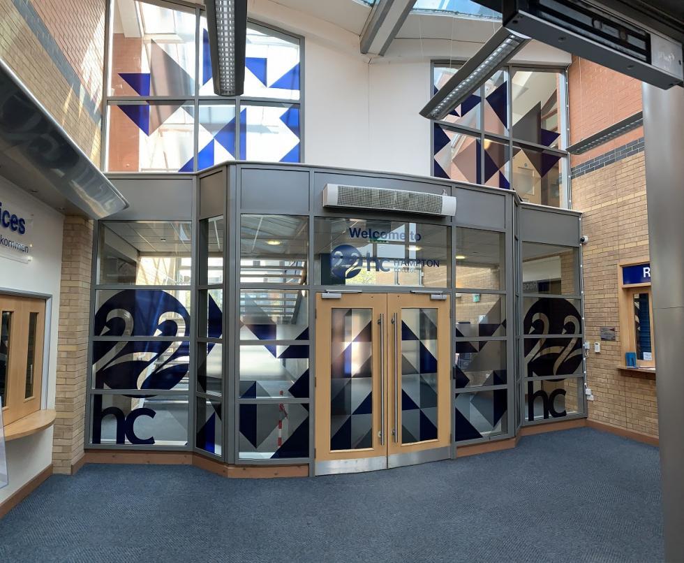 Hampton College Window Graphics