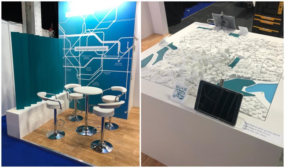 Close up of siemens exhibition displays