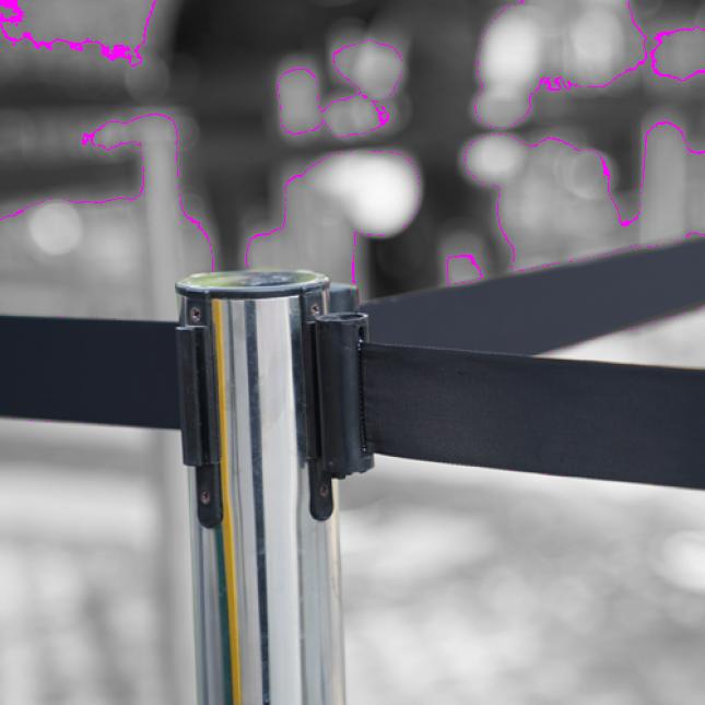 Chrome retractable belt barrier multi way