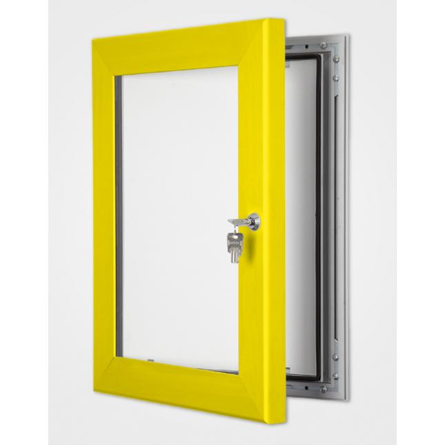 Bright yellow outdoor lightbox poster display