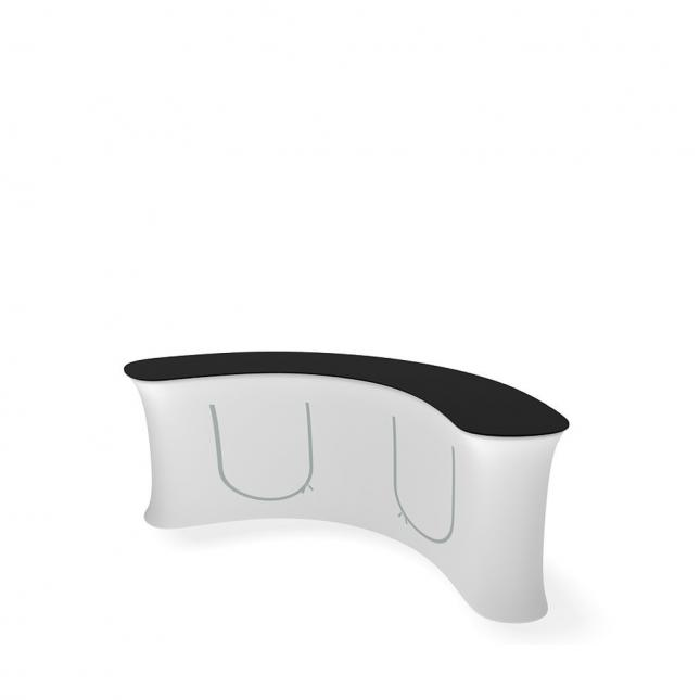 Large curved promotional counter rear