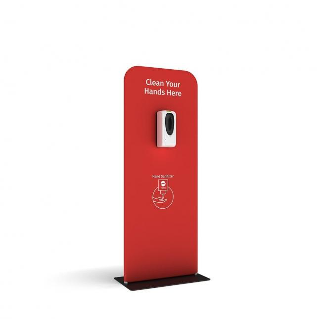Red automatic hand santising stand