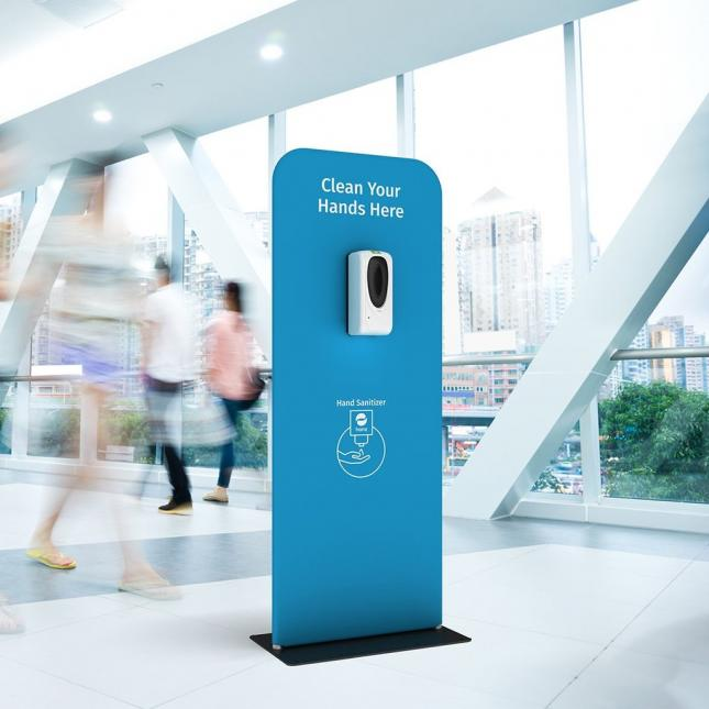 Blue automatic hand santising dispenser stand