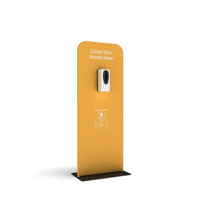 Yellow automatic hand santising dispenser stand