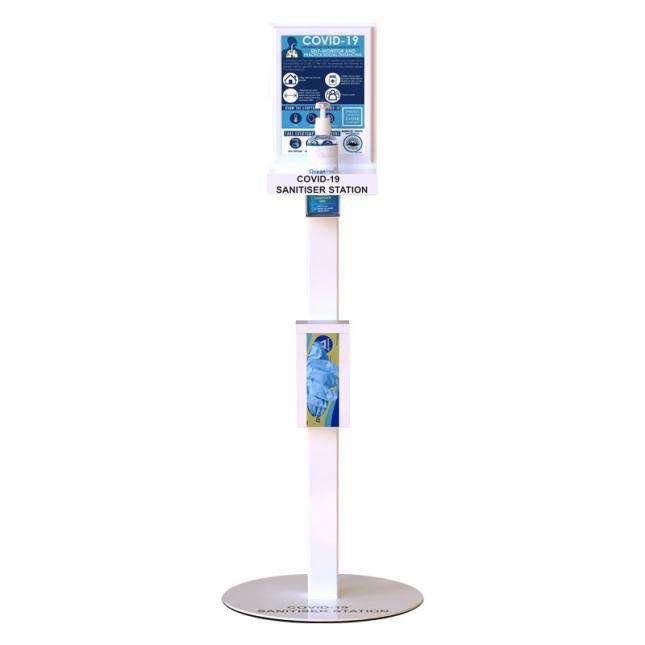 Floor standing hand sanitiser station