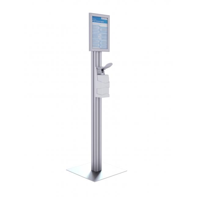 Freestanding sanitiser stand with bottle holder and poster display