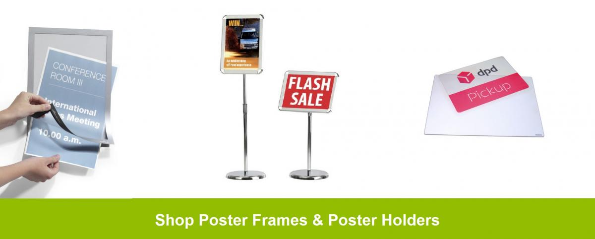 Social distancing poster holders and poster displays
