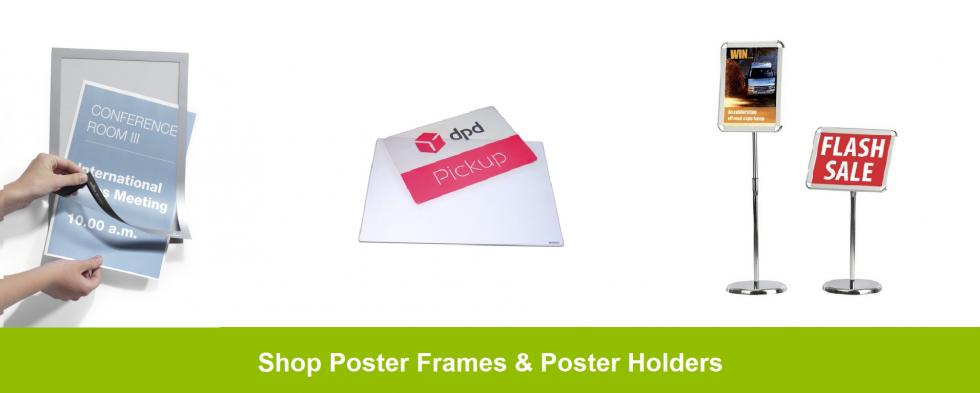 Social distancing poster displays and sign holders