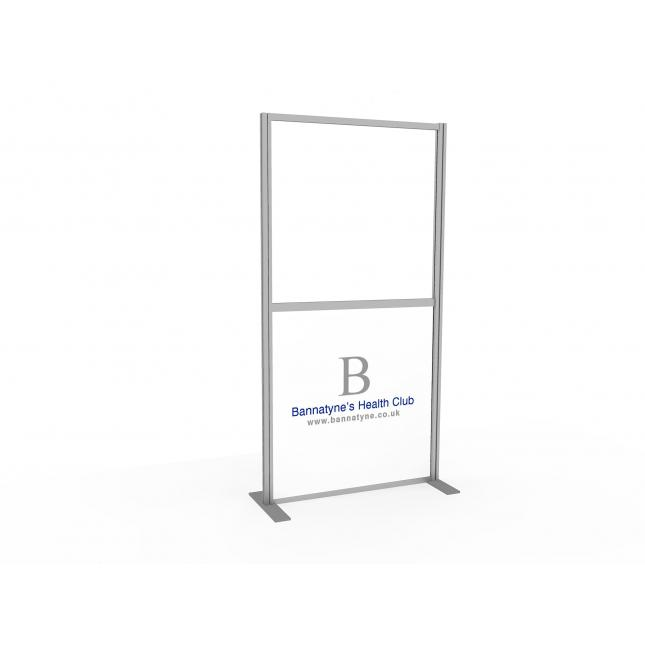 Social distancing screen with printed panel and clear acrylic panel