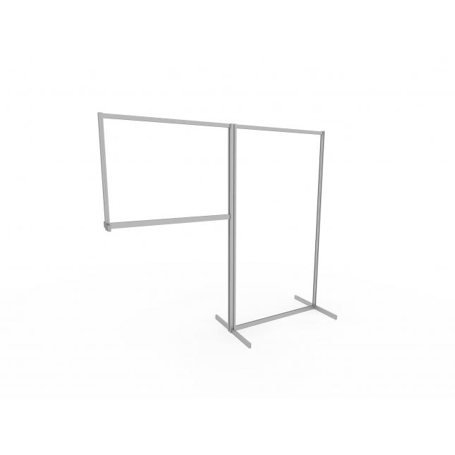 Acrylic screen floor standing with desk extension screen
