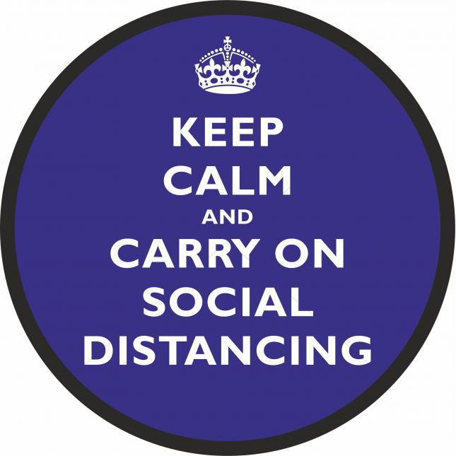 Keep Calm and Carry on Floor Sticker in Blue for Social Distancing