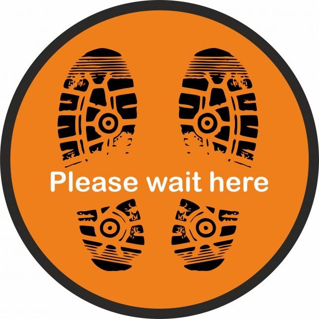 Please wait here social distancing floor stickers