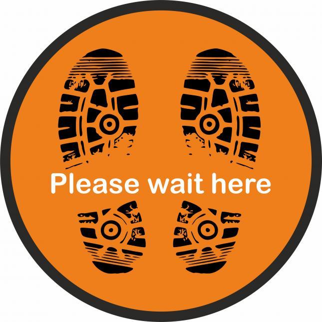 Please wait here social distancing floor stickers