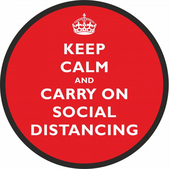 Keep calm and carry on social distancing floor sticker