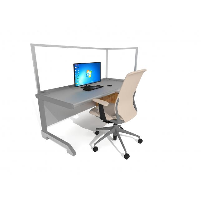 L shape acrylic screen office desk for social distancing