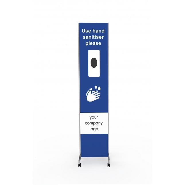 Wheel sanitising station for non touch dispenser