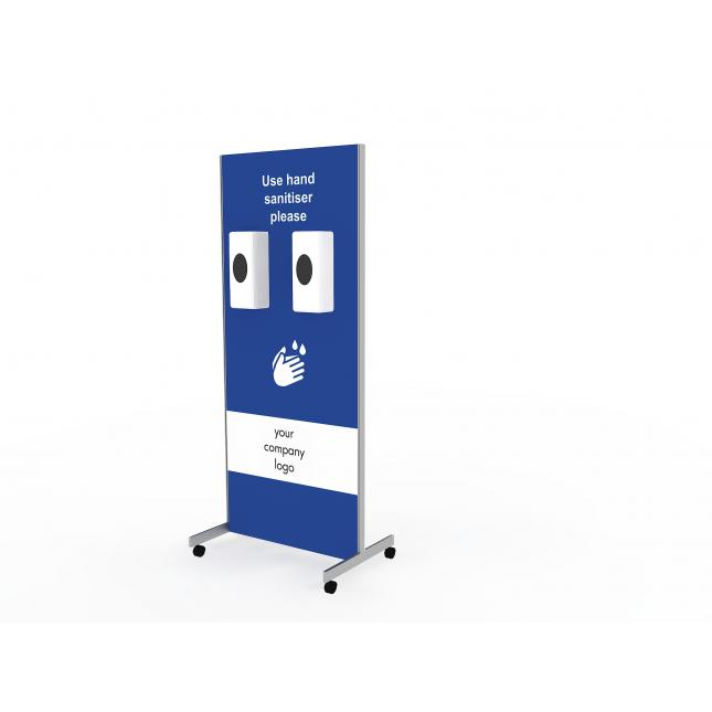 Wheeled hand sanitiser station with double automatic dispensers