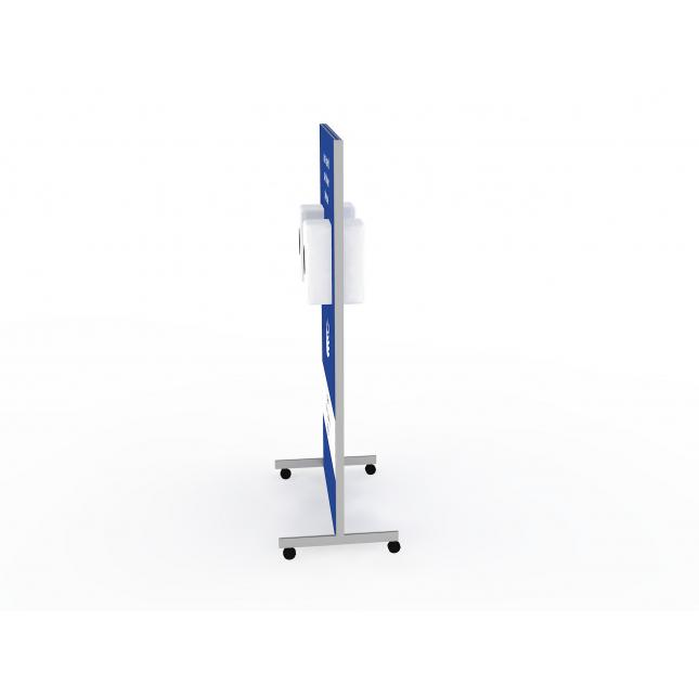 Double sided wheeled sanitising station non touch