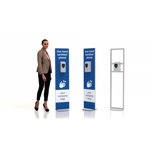 Double sided print and dispensers floor standing non touch